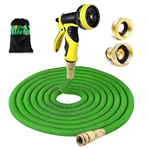 Flexibler Gartenschlauch, Messinginstallationen Stärkster Schlauch mit 9 Spray-Muster, einziehbar, flexibel, nie Kink, leichte tragbare Wasserschläuche Gebrauch für Gartenarbeit, Druckwäsche (100FT/30M)