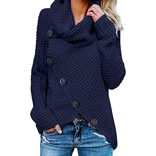 Damen Winterjacke Warm Strickjacke Rollkragen Cardigan Strickpullover Casual Wrap Wickel Pullover Sweater Piebo Frauen Herbst Winter Übergangs Slim Lässig Stilvoll Langarm Sweatshirt Tops Bluse (Nette Schwangere Dame Kostüm)