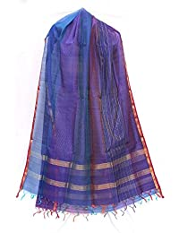 Women's Designer Cotton Chandari Embroidery Zari Border Dupatta Of Purple, Blue And Golden Color For Girls/women...