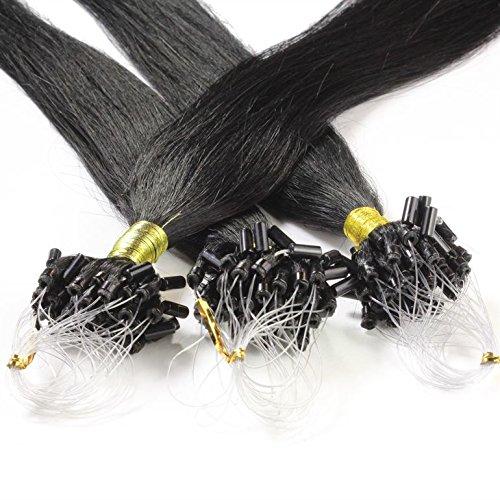 hair2heart 25 x Microring Loop Extensions aus Echthaar, 60cm, 1g Strähnen, glatt - 1 Schwarz