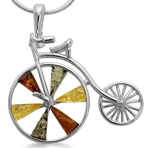 Bernsteinschmuck Velozipede Oldtimer Fahrrad 925 Sterling Silber Bernstein Damen Herren Schmuckanhänger #1652