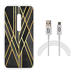 Designer Hard Back Case for Moto G Turbo Edition with 1.5m Micro USB Cable