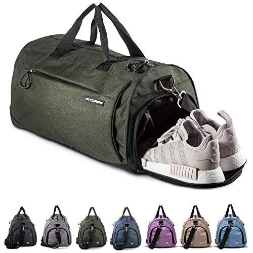Fitgriff® Sporttasche Reisetasche mit Schuhfach & Nassfach - Männer & Frauen Fitnesstasche - Tasche für Sport, Fitness, Gym - Travel Bag & Duffel Bag 48cm x 26cm x 25cm [30 Liter] (Grün, Small) -