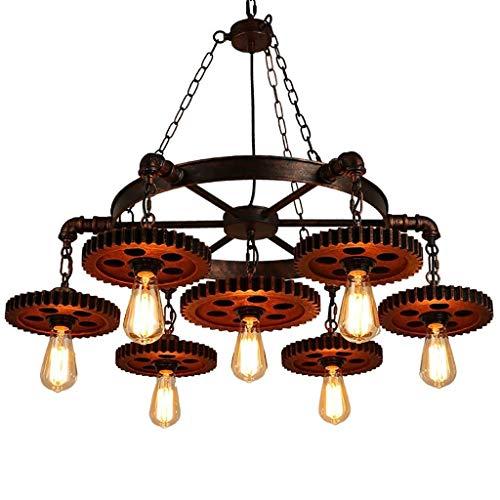 Deckenleuchte/Kronleuchter -Industrielle Retro Kronleuchter Schmiedeeisen Retro Gear 7 Lampe Geeignet Für Restaurant Wohnzimmer JINRONG (Farbe : A)