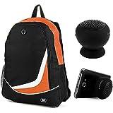 "SumacLife Nylon Backpack Travel Bag (Orange) for Samsung ATIV Book 9 Plus 13.3"" / Microsoft Surface Book 13.5"" + Bluetooth Suction Speaker"