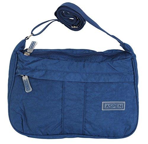 Aspen, Borsa a Tracolla Da Donna Misura Media Medium Con Cerniera Vari Colori Disponibili CN9879 Blu navy
