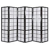 Homestyle4u 284 Paravent 6 teilig Raumteiler 6 fach Holz Schwarz Shoji Reispapier weiß Trennwand Spanische Wand Sichtschutz zusammenklappbar