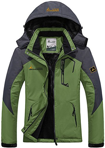 Sawadikaa Herren Winter Outdoorjacke wasserdicht Wandern Fleece Übergröße Skijacke Regenjacke Hellgrün