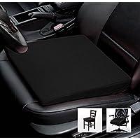 Asiento Cuña Auto asiento cojín de silla oficina silla Cojín–Tamaño: 35cm x 35cm x 6/1cm, algodón, negro, 38 cm x 38 x 8/2 cm
