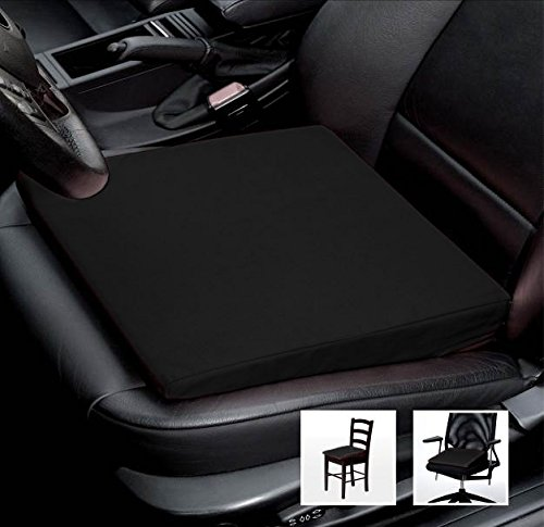 Foto de Asiento Cuña Auto asiento cojín de silla oficina silla Cojín–Tamaño: 35cm x 35cm x 6/1cm, algodón, negro, 38 cm x 38 x 8/2 cm