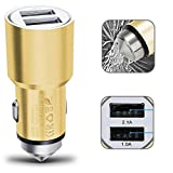 Picture Of 2Ticks Twin USB 2-Ports SUV Car Charger Adapter & Break Glass Safety Full Aluminium Hammer - Gold For Videocon Delite 21