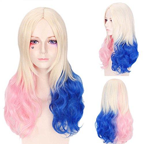 e 45CM Qualitativ Hochwertige Lang Synthetische Haar Perücken Frauen Perücke Für Cosplay / Karneval / Party (Harley Quinn) (Harley Quinn Kostüm Einfach)