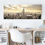 Cuadro de cristal - Manhattan Dawn - Panorama Apaisado, mural acristalado, mural de pared, decoración para pared, decoración, cristal, impresión en cristal, mural de pared de cristal, fotomural de cristal, impresión sobre cristal, Tamaño: 50cm x 125cm