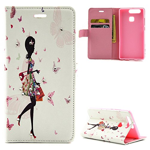 Huawei P9 Lite Bumper,Huawei P9 Lite Cover Pink,Huawei P9 Lite Custodia Cuore,URFEDA Nuove Belle Elegant Vintage Rigida Fantasia Marvel Disegni per Donna Vans Inlaid Glitter Bling Brillantini Crystal Diamante Beautiful Shopping Girl Morbida Ultra Slim Sottile Leggero Leather Pelle Wallet Portafoglio Flip Bookstyle Libro Borsa Antiuroto Completa Flessibile Protettivo Custodia Cover Case Bumper per Huawei P9 Lite