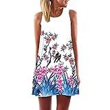 MRULIC Frauen Lose Sommer Weinlese Blumendruck Kurzschluss 3D Bild Minikleid Gerades Kleid mit Schmetterlinge Muster (EU-42/CN-L, X-Weiß)