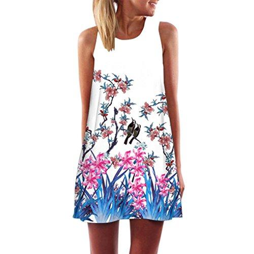 ommer Weinlese Blumendruck Kurzschluss 3D Bild Minikleid Gerades Kleid mit Schmetterlinge Muster (EU-42/CN-L, X-Weiß) (Kleid Santa)