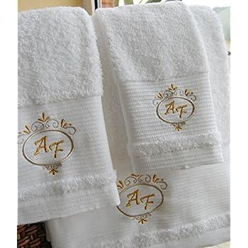 /Ref Serviette de toilette Top Qualit/é h/ôtel Edition Lot de 3/Presonalized Blanc Serviettes/ Feuilles dor/ Serviette dinvit/é /Drap de bain