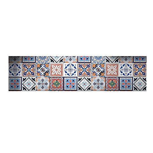 Moroccan Bohemian Style Peel and Stick Mosaic Tile Wallpaper Geometry Wall Sticker Floor Sticker Waterproof DIY Floor Tile 7.8 x 197 inches