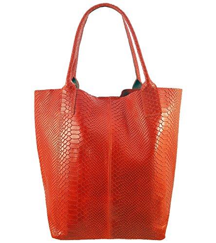 Damen Echtleder Shopper mit Schmucktasche in vielen Farben Schultertasche Henkeltasche Handtasche Metallic look Rot Snake