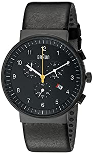 Braun BN0035BKBKG - Reloj cronógrafo de caballero de cuarzo con correa de piel