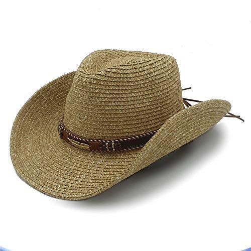 HaiDean Sommer Stroh Hollow Western Modernas Hut Cowboy Mit Lässig Mode Leder Frauen Männer Nner Panamahut Strohhut Sonnenhut (Color : Colour-1, Size : One Size) (Hüte Western Billig)
