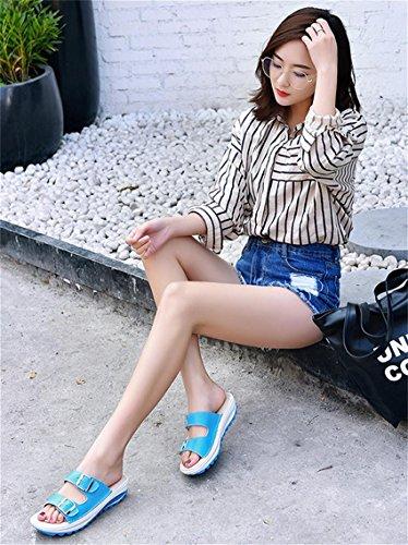 pengweiSandales de dames sandales d¨¦contract¨¦es d'¨¦t¨¦ Blue