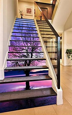 3D Schwarz Baum Der Himmel 379 Stair Risers Dekoration Fototapete Vinyl Aufkleber Tapete DE Lemon (13x H:18cm x W:94cm (7