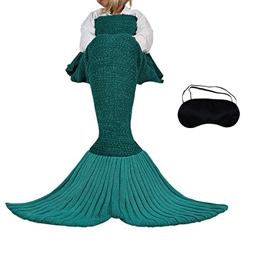 Mermaid Tail Blanket,Warm Sleeping Bag Gift With Eye Mask for Adult, Hollow Out Closed Footed Design,Green