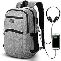 Laptop Backpack, Business Work Casual Daypack with USB Charging/Earphone Port, 15.6-inch Slim Lightweight College/High School Bag Computer Rucksack for Business/Travel/Women/Men/Boys/Girls, Grey