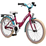 BIKESTAR Sehr leichtes Kinderfahrrad für Mädchen ab 6 Jahre | 20 Zoll Kinderrad Classic | Fahrrad für Kinder Berry & Türkis
