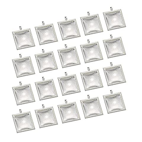 eBoot 20 Pieces Pendant Trays Square Bezel and 20 Pieces Glass Dome Tiles Cabochon for Crafting DIY Jewelry Making, Totally 40
