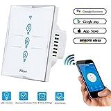 Wifi Interruptor Inteligente 3 Gang, Wireless Echo Interruptor remoto de luz de pared con Alexa / Google Home, Panel de vidrio sensible al tacto, Sin centro, Función de sincronización