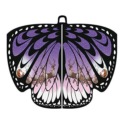 (Dorical Damen Großes Schmetterlingsflügel-Schal Faschingskostüme Schmetterling Schal Flügel Tuch Erwachsene Poncho Umhang für Party Halloween Weihnachten Kostüm Cosplay Kostüm Zusatz)