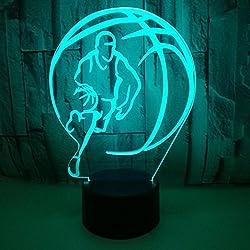 Jinson well 3d Baloncesto lámpara de mesa luz nocturna cambio de 7 colores LED luz de noche para Decor Regalo