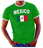 Coole-Fun-T-Shirts Herren T-Shirt Ringer, Grün, L, 10888_Mexico_HERI
