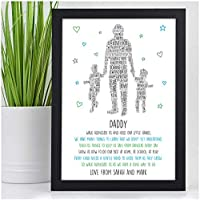 PERSONALISED Daddy and Son Daughter POEM Gifts for Birthday, Fathers Day, Christmas - Gifts for Dad, Daddy, Grandad from Little Girl, Boy, Child, Grandchildren - 1, 2 or 3 Children Designs Available