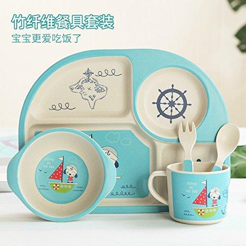Bubunu Kinder Besteck baby-Format feste Nahrung kreative Cartoon Schüssel Reis, 5-teilig, Piratenschiff