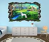 3D Wandtattoo Kinderzimmer Pegasus Einhorn Schloss Cartoon Pferd selbstklebend Wandbild Tattoo Wand Aufkleber 11M051, Wandbild Größe F:ca. 162cmx97cm