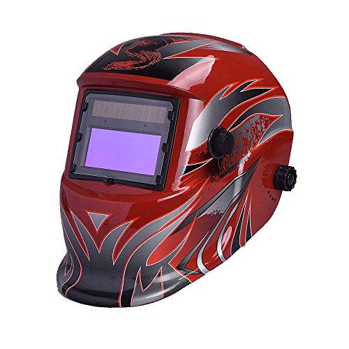 NUZAMAS solarbetrieben Schweißschutzschild Maske Schweißen Hot Rot Face Schutz für Arc Tig Mig Schleifen Plasma Schneiden mit verstellbarem Shade-Reihe DIN4/9-13UV/IV Schutz DIN16 - Arc Schutz
