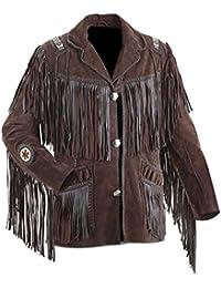 9ab53439508388 LEATHERAY Herren Westernjacke Cowboy Braun Wildleder Jacke mit Fransen  XS-5XL