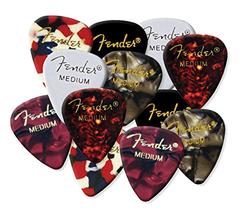 fender-guitar-picks-mix-up-random-black-red-white-confetti-celluloid-electric-acoustic-bass-plectrum
