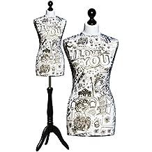 Deubl Maniquí de mujer ANNA con soporte de madera negro, altura regulable con jersey extraíble, torso de maniquí femenino para sastre de espuma rígida, Bezug: 54, 36/38