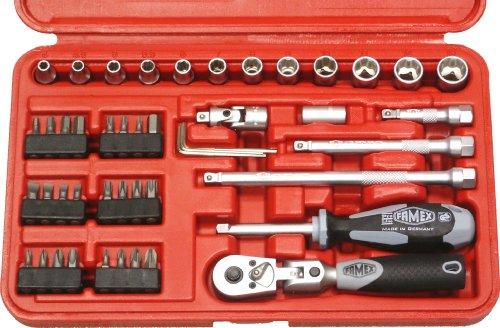 Famex 590-21 - Set di 47 attrezzi con chiavi a bussola e leva a cricchetto con cerniera, 6,3 mm (1/4), 4-13 mm