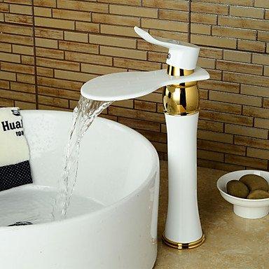 chtung Farbe Waschbecken Wasserfall Wasserhahn (hoch)-weiß + Gold (Weiß Und Gold-kunststoff-platten)
