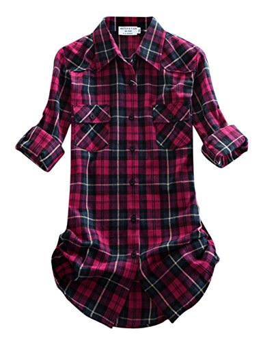 Match Damen Langarmhemd Flanell Karierte Bluse Plaid Shirt #B003(2021 Checks#8,Small(Fit 33''-35'')) (Plaid Fit Shirt Classic)