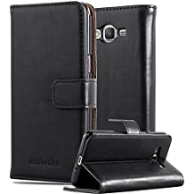 Cadorabo - Funda Estilo Book Lujo para Samsung Galaxy GRAND PRIME con Tarjetero y Función de Soporte - Etui Case Cover Carcasa Caja Protección en NEGRO-GRAFITO