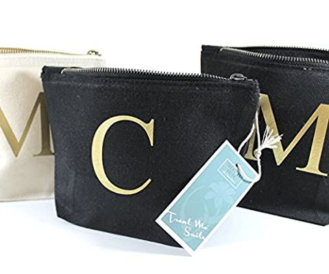 Personalised Make Up Bag Accessory Bag ANY LETTER - Cotton