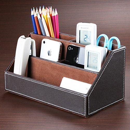 Maison créative fournitures de papeterie Bureau cuir cosmétiques boîte de rangement . coffee color
