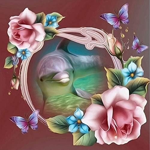 YANZUAN DIY 5D Pintura diamante Flor de amor de mariposa Dormitorio sala de estar Pintura decorativa Punto de cruz Taladro de diamante completo 30x30cm Sin marco