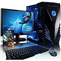 "VIBOX Centre 4 Gaming PC Computer with War Thunder Game Voucher, 22"" HD Monitor (4.0GHz AMD FX Quad-Core Processor, Nvidia GeForce GTX 1050 Graphics Card, 8GB RAM, 1TB HDD, No Operating System)"